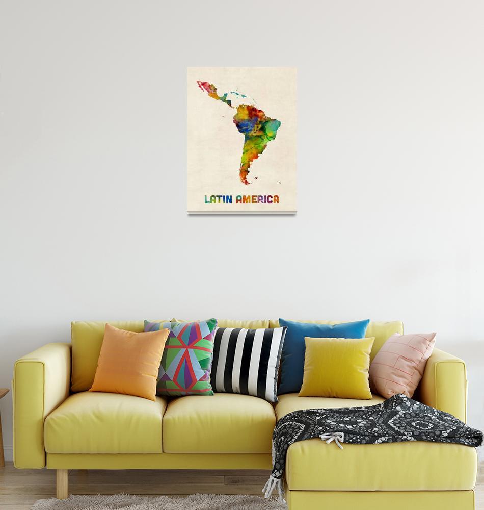 """South America Watercolor Map""  (2017) by ModernArtPrints"