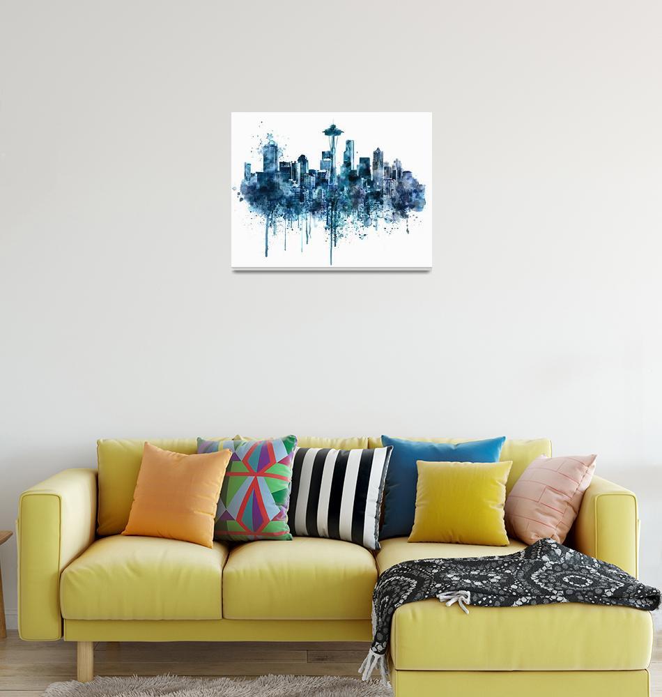 """Seattle Skyline Monochrome Watercolor""  (2015) by MarianVoicu"