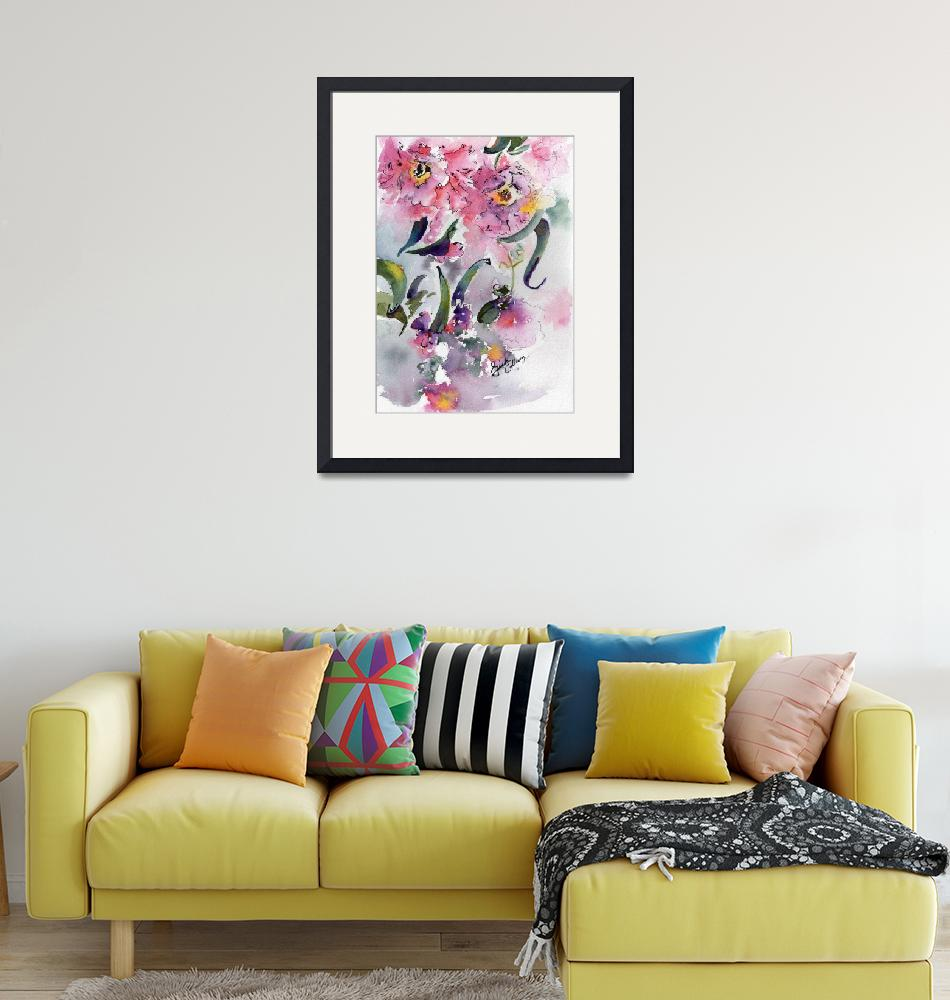 """""""Camellia Alabama State Flower Watercolor""""  (2016) by GinetteCallaway"""