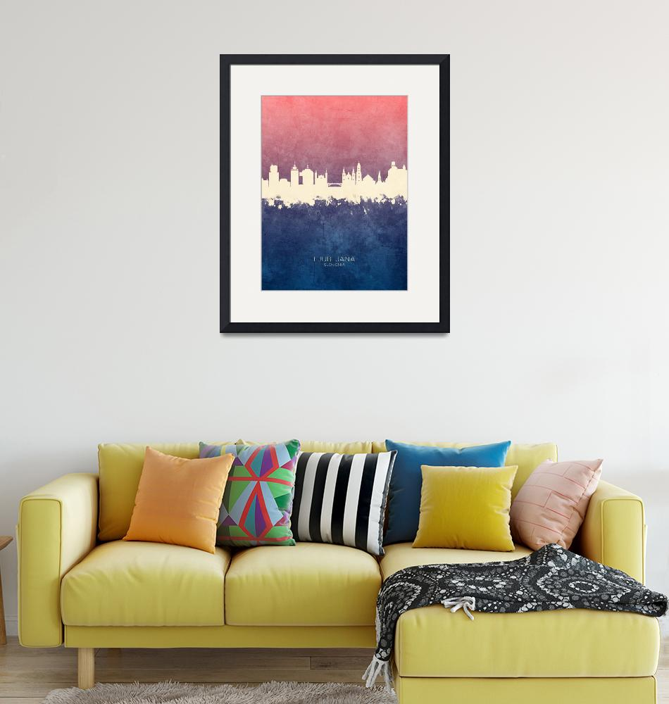 """Ljubljana Slovenia Skyline""  (2019) by ModernArtPrints"