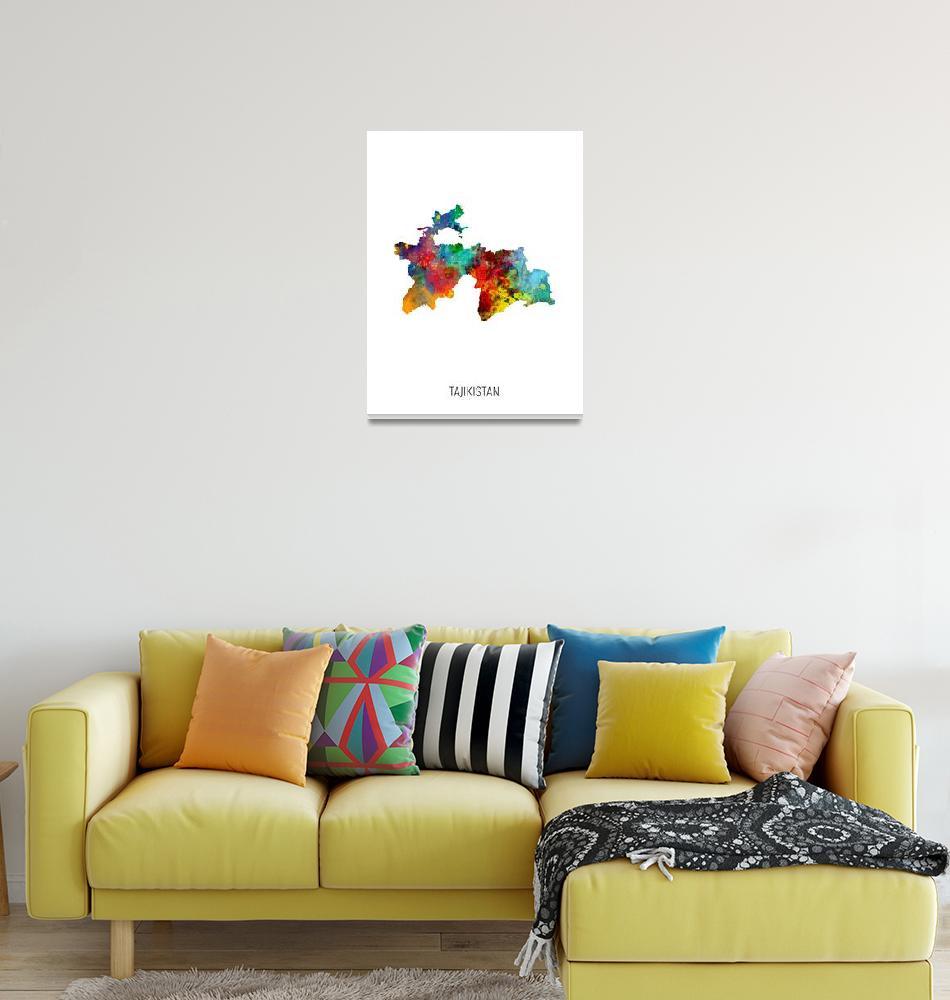 """Tajikistan Watercolor Map""  (2019) by ModernArtPrints"