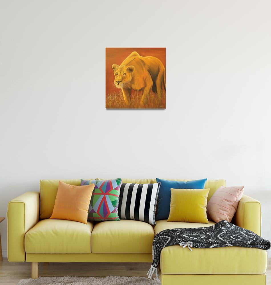 """""""Stalking lioness""""  (2009) by Monzie"""