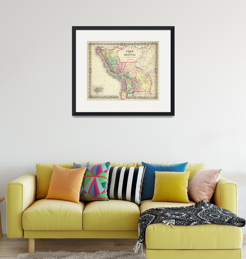 """""""Vintage Map of Peru and Bolivia (1856)""""  by Alleycatshirts"""