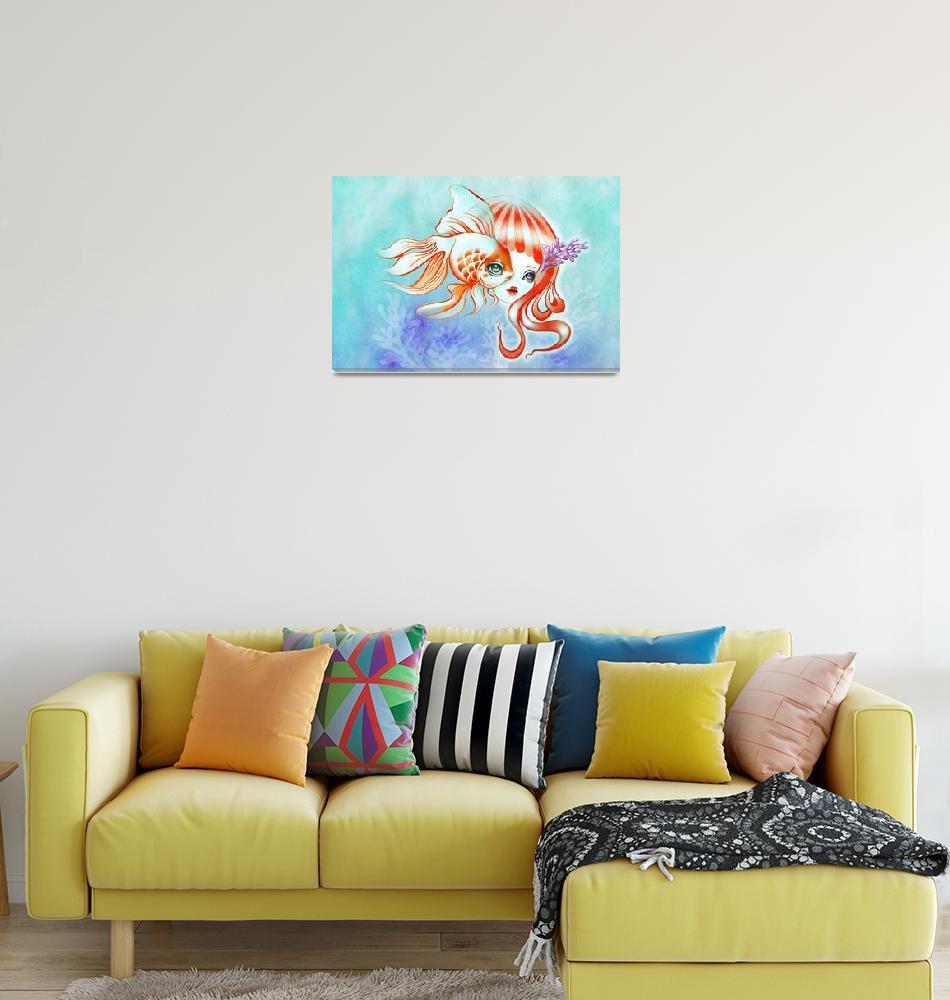"""Dreamland Muses - Jellyfish Girl & Goldfish""  (2014) by sandygrafik_arts"