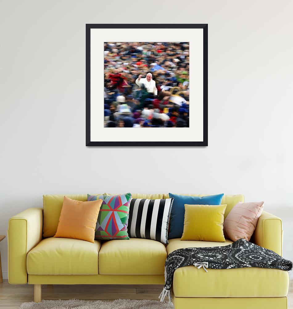 """Pope Francis In Crowd of Faithful Acrylic 6""  by RubinoFineArt"