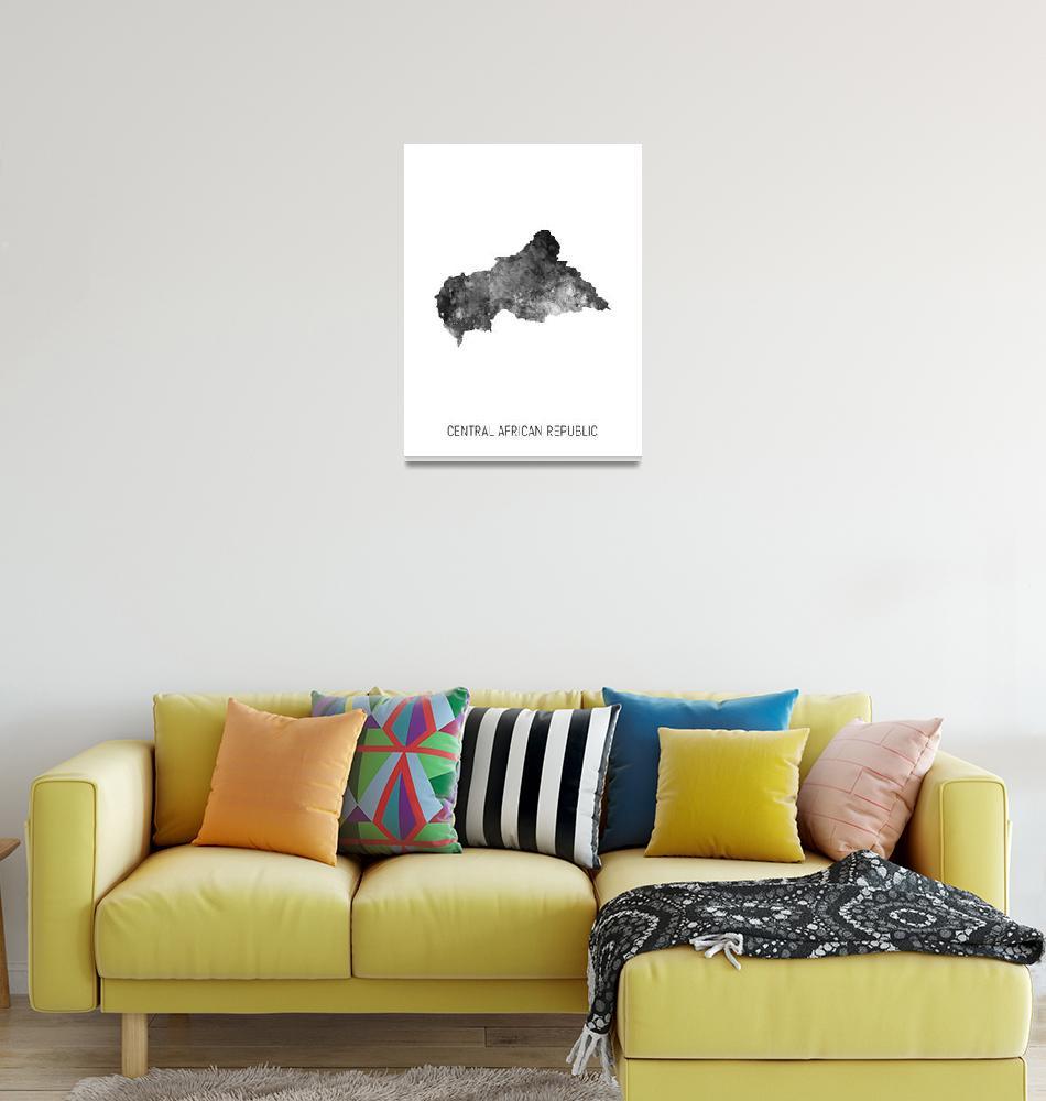"""Central African Republic Watercolor Map""  (2019) by ModernArtPrints"