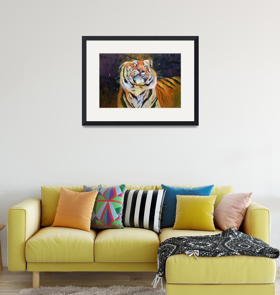 """Tiger (Shaking Head) by Odile Kidd""  by fineartmasters"