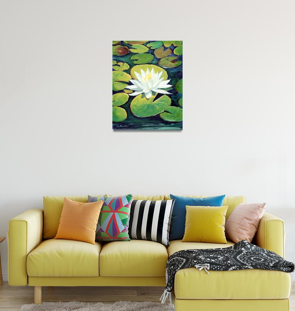 """Water Lily Flower painting by RD  Riccoboni™""  (2009) by RDRiccoboni"