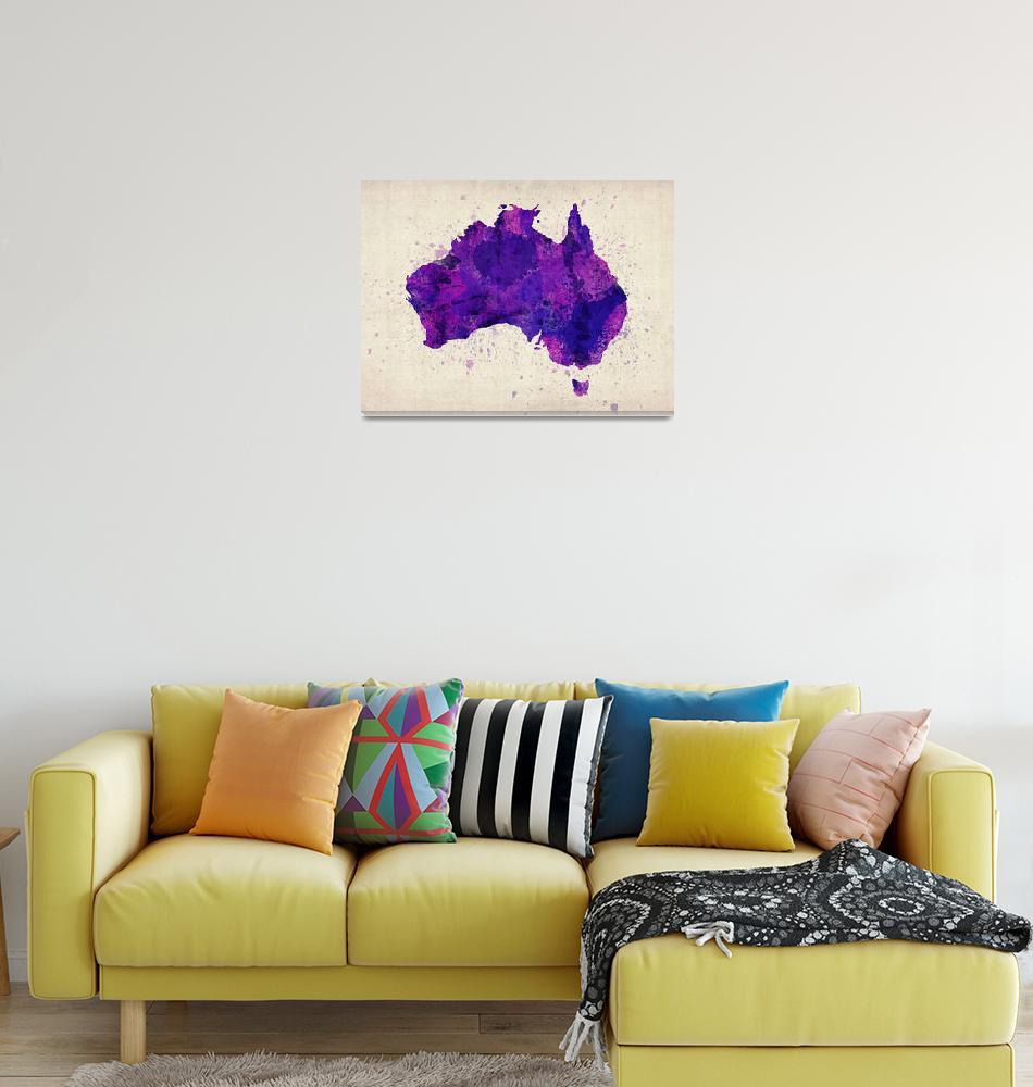 """Australia Watercolor Map Art""  (2012) by ModernArtPrints"