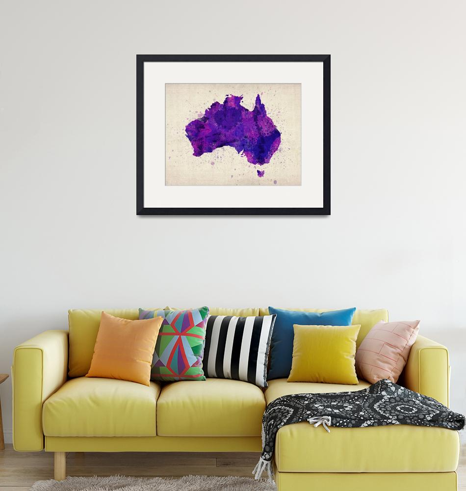 """Australia Watercolor Map Art""  (2012) by ModernArtPrints"