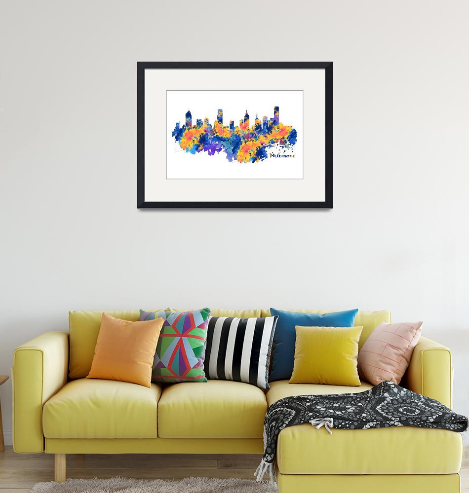 """""""Melbourne Watercolor Skyline""""  (2017) by MarianVoicu"""