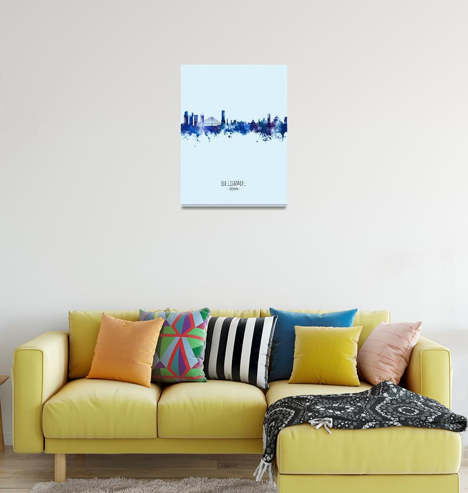 """Belgrade Serbia Skyline""  (2020) by ModernArtPrints"