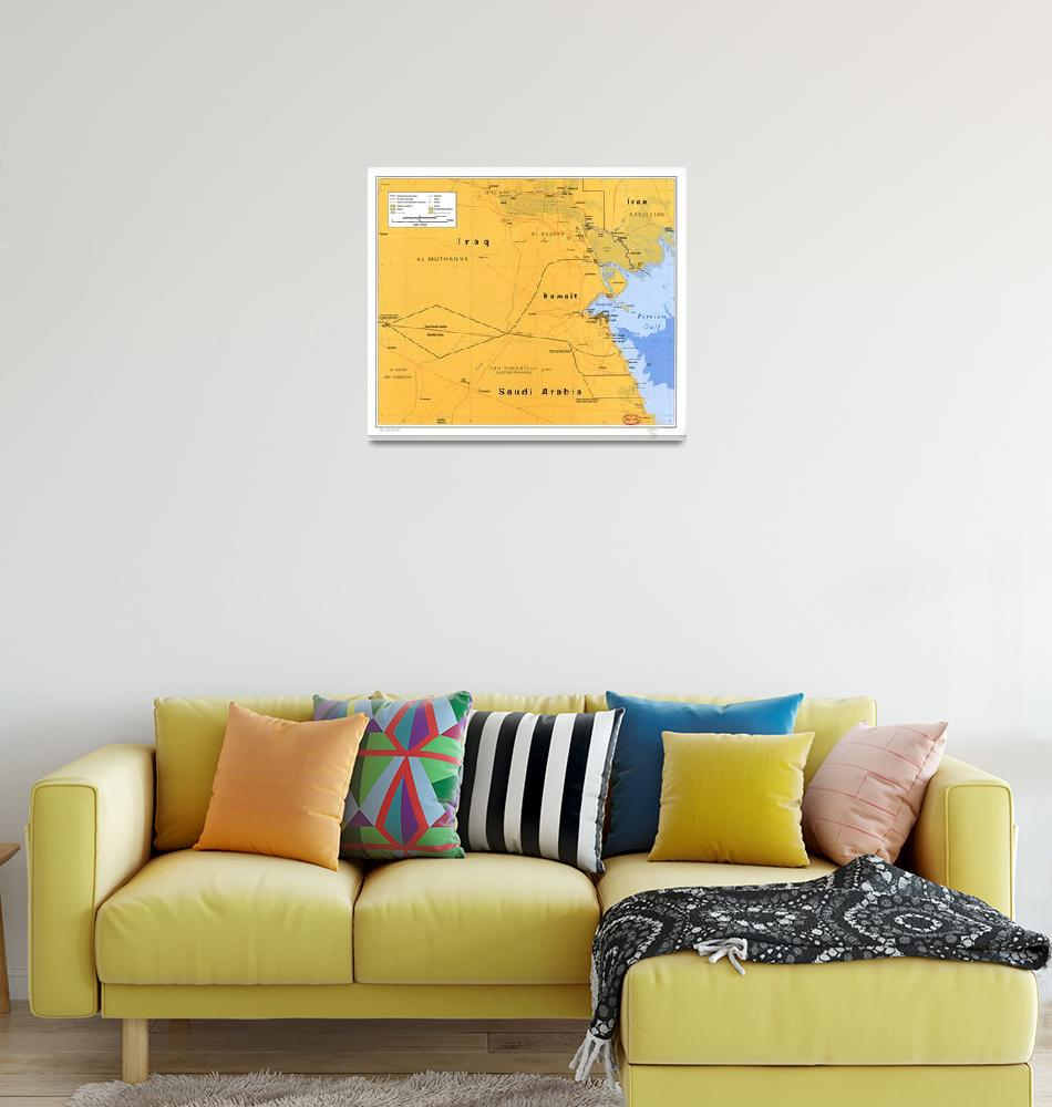 """Gulf War Boundaries Map, Saudi Arabia, Iraq, Kuwai""  (1991) by ArtHistory"