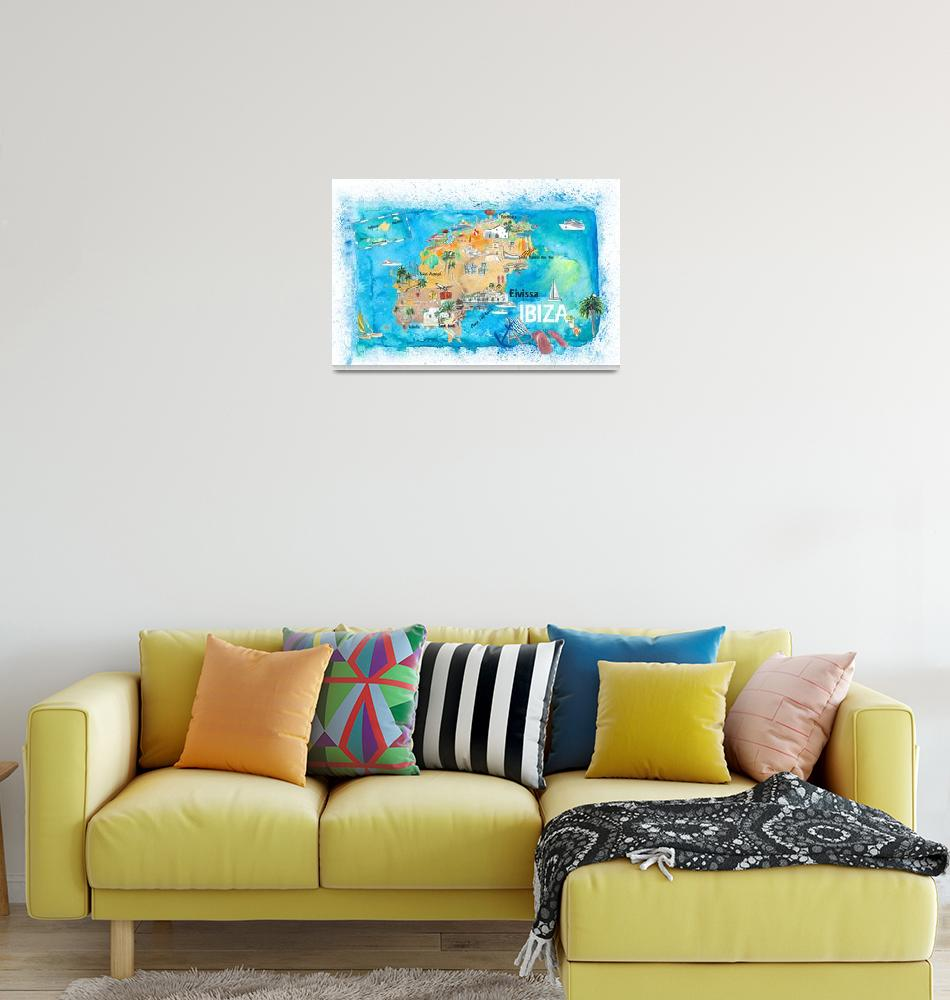"""""""Ibiza Spain Illustrated Map with Landmarks and Hig""""  (2020) by arthop77"""