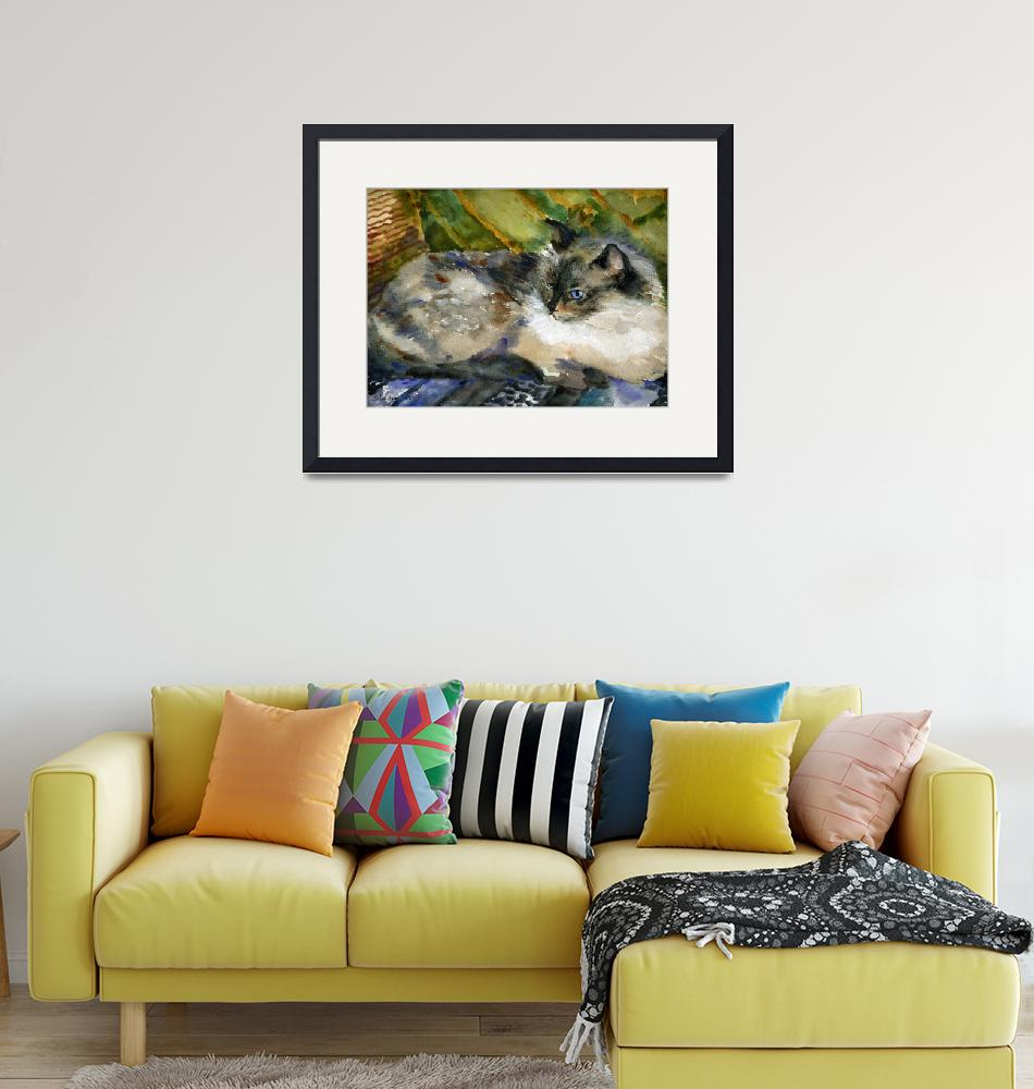 """Siamese Basking, Watercolor Painting Animal Cat Ar""  (2008) by schulmanart"