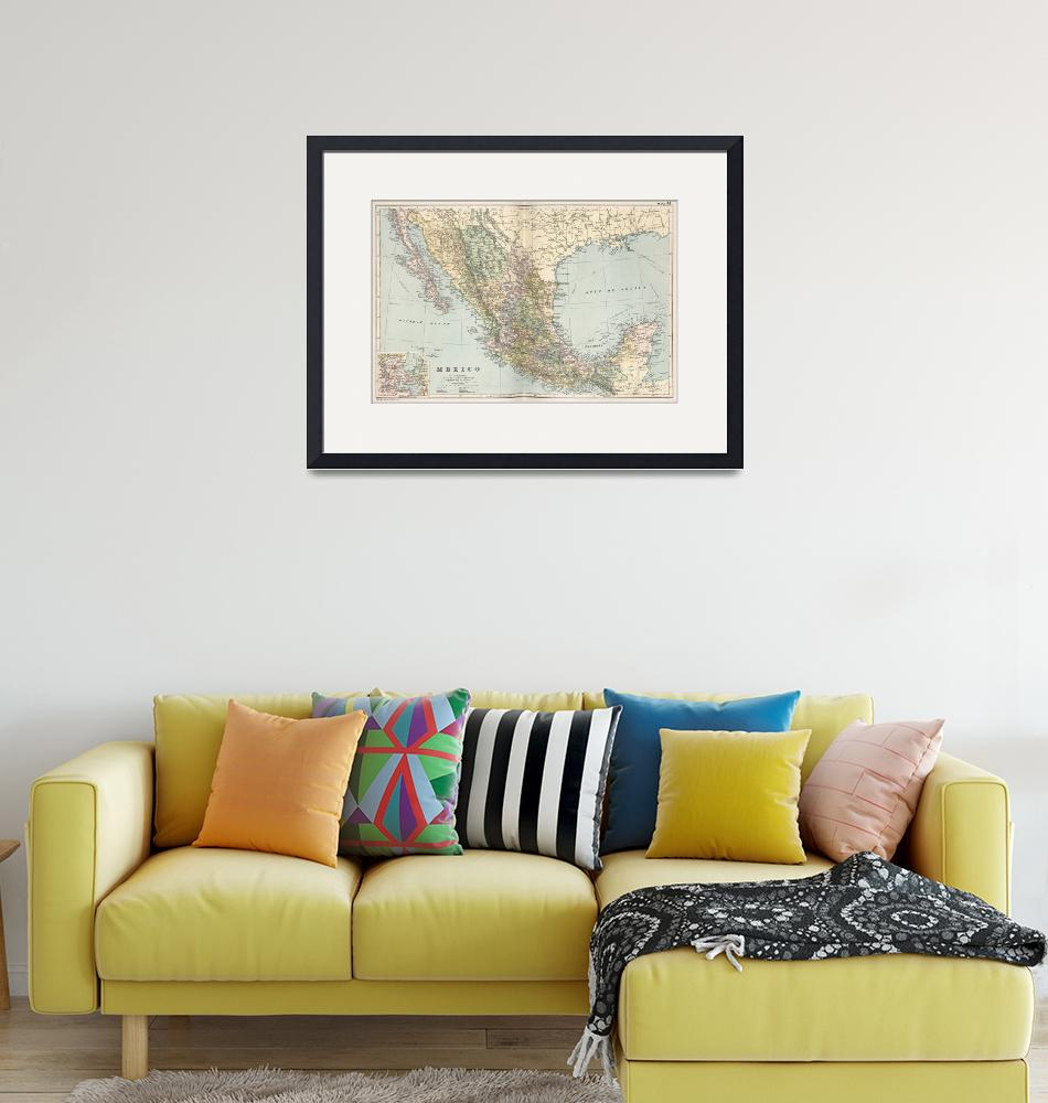 """Vintage Map of Mexico (1891)""  by Alleycatshirts"