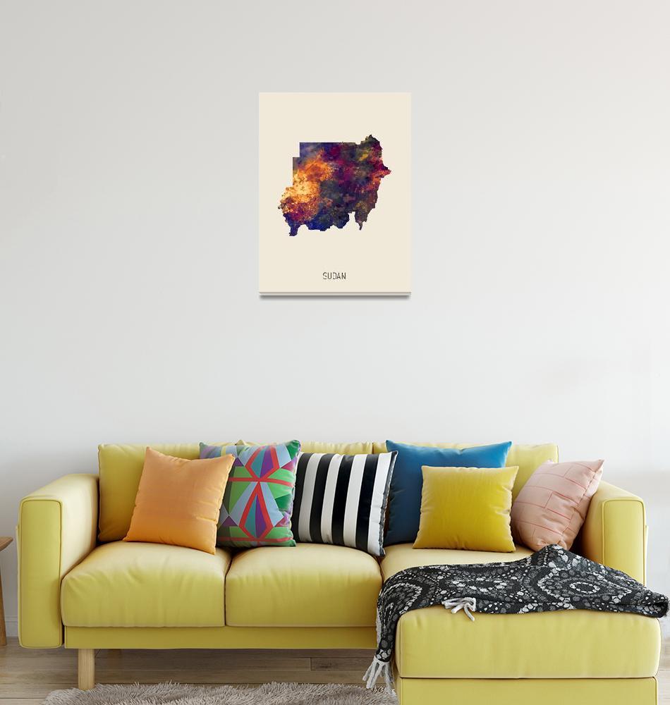 """Sudan Watercolor Map""  (2019) by ModernArtPrints"
