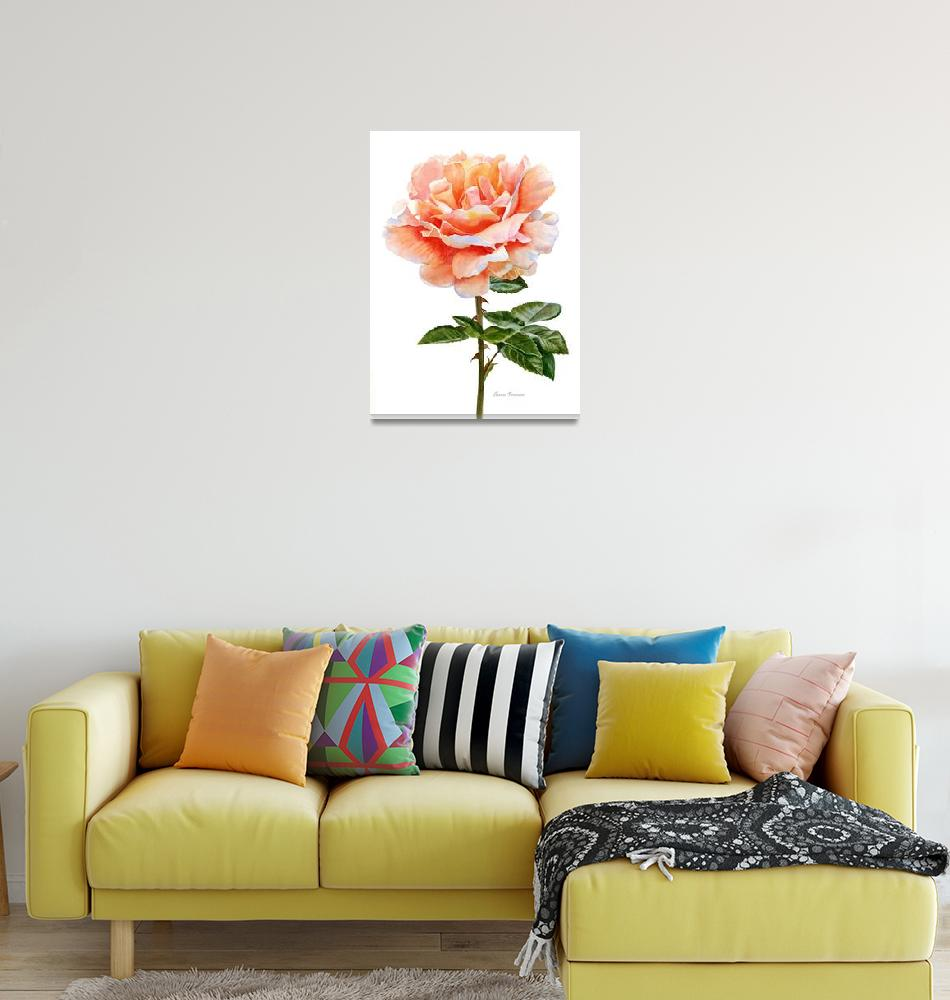 """Orange and Gold Rose with Leaves""  (2016) by Pacific-NW-Watercolors"