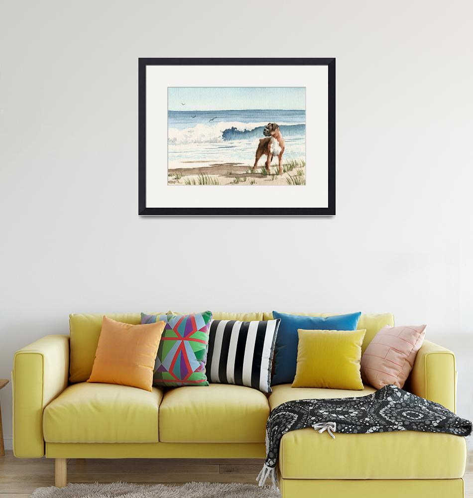 """""""Boxer at the Beach""""  (2015) by k9artgallery"""