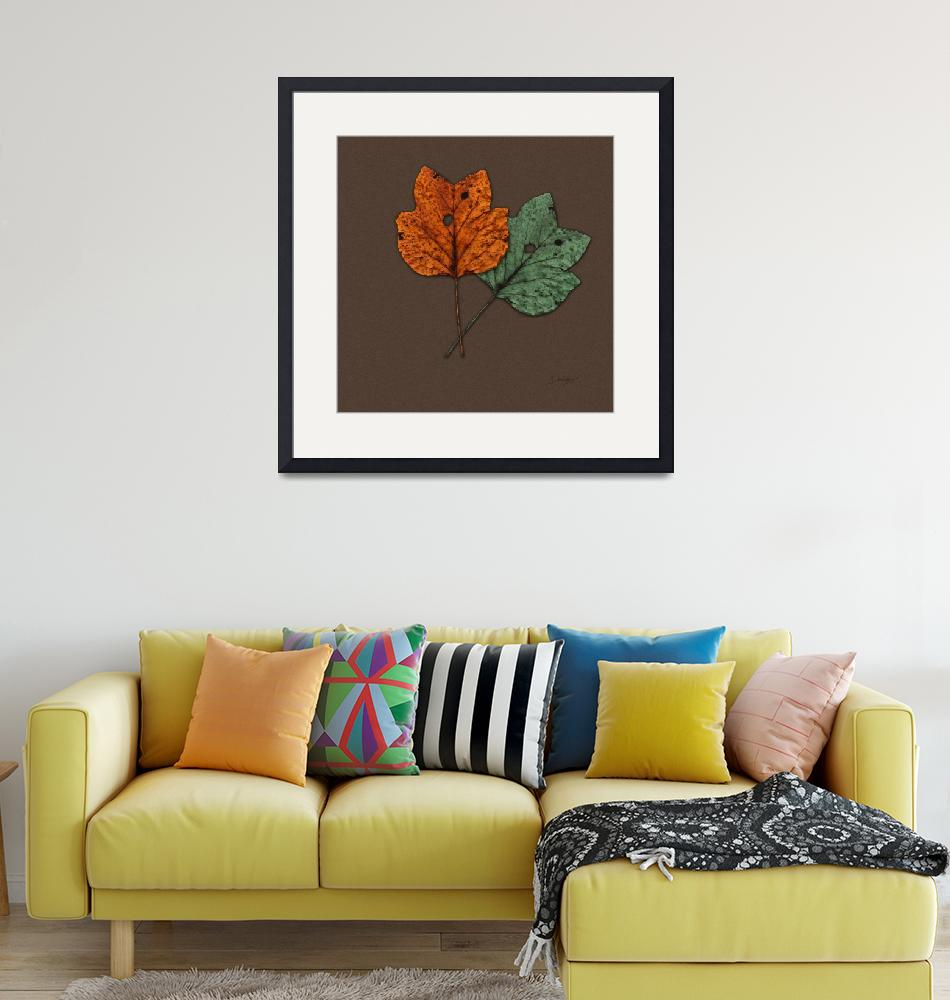 """""""Two Autumn Leaves Modern Minimalism by Ginette""""  (2009) by GinetteCallaway"""