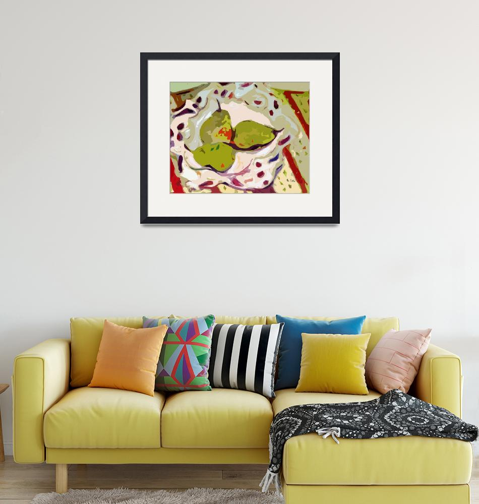 """""""Abstract Three Green Pears Art by Ginette""""  (2012) by GinetteCallaway"""