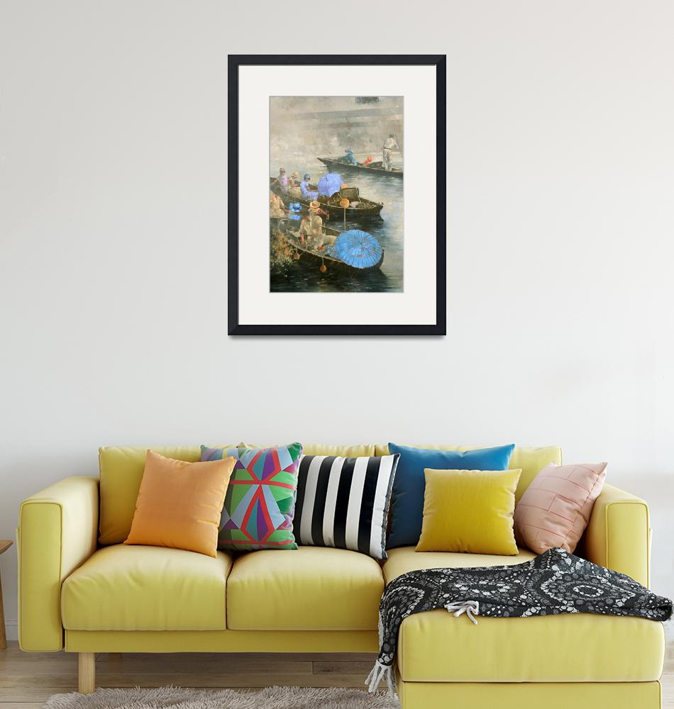 """""""Punts on the Wey at Brooklands""""  by fineartmasters"""
