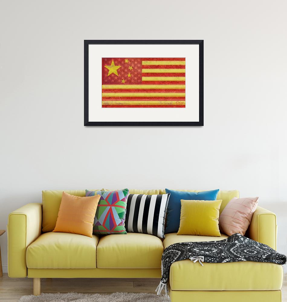 """""""Chinese American Flag Blend""""  (2013) by RubinoFineArt"""