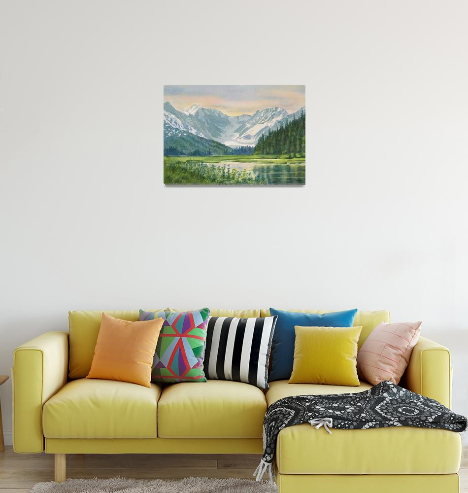 """""""Chugach View from Seward Highway""""  (2009) by Pacific-NW-Watercolors"""