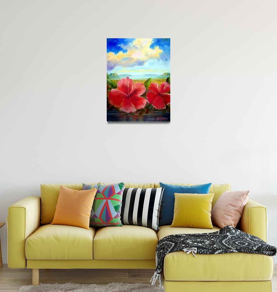 """Hibiscus Oil Painting""  (2009) by mazz"