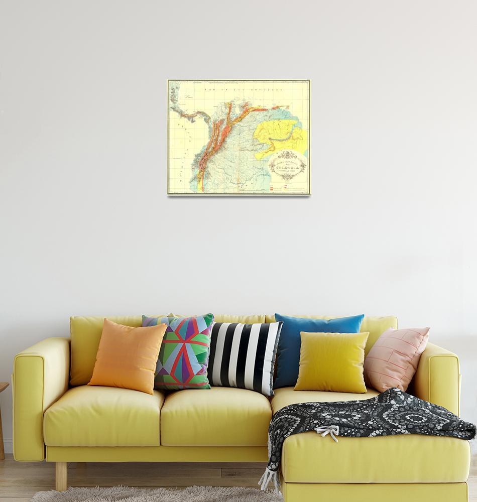 """Vintage Geological Map of Columbia, Venezuela & Ec""  by Alleycatshirts"