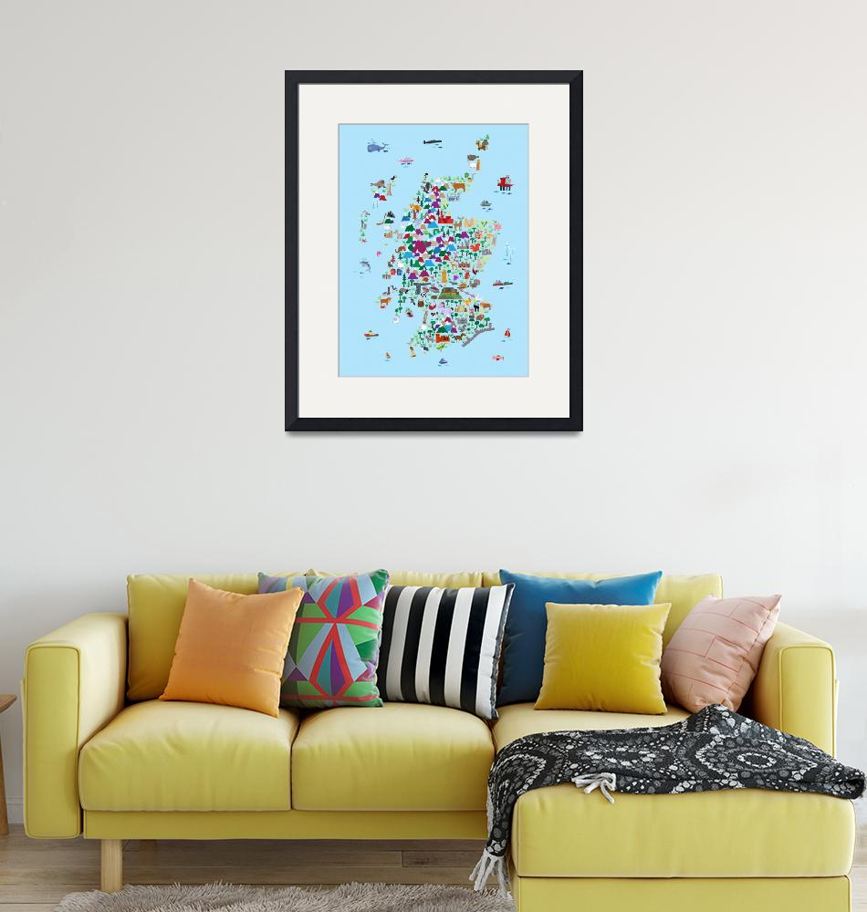 """""""Animal Map of Scotland for children and kids""""  (2017) by ModernArtPrints"""