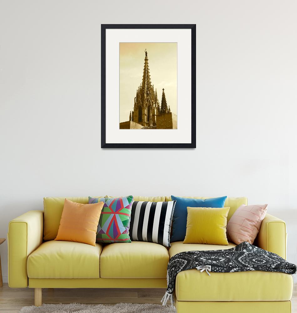"""Barcelona Cathedral Spires in Sepia""  (2014) by Groecar"