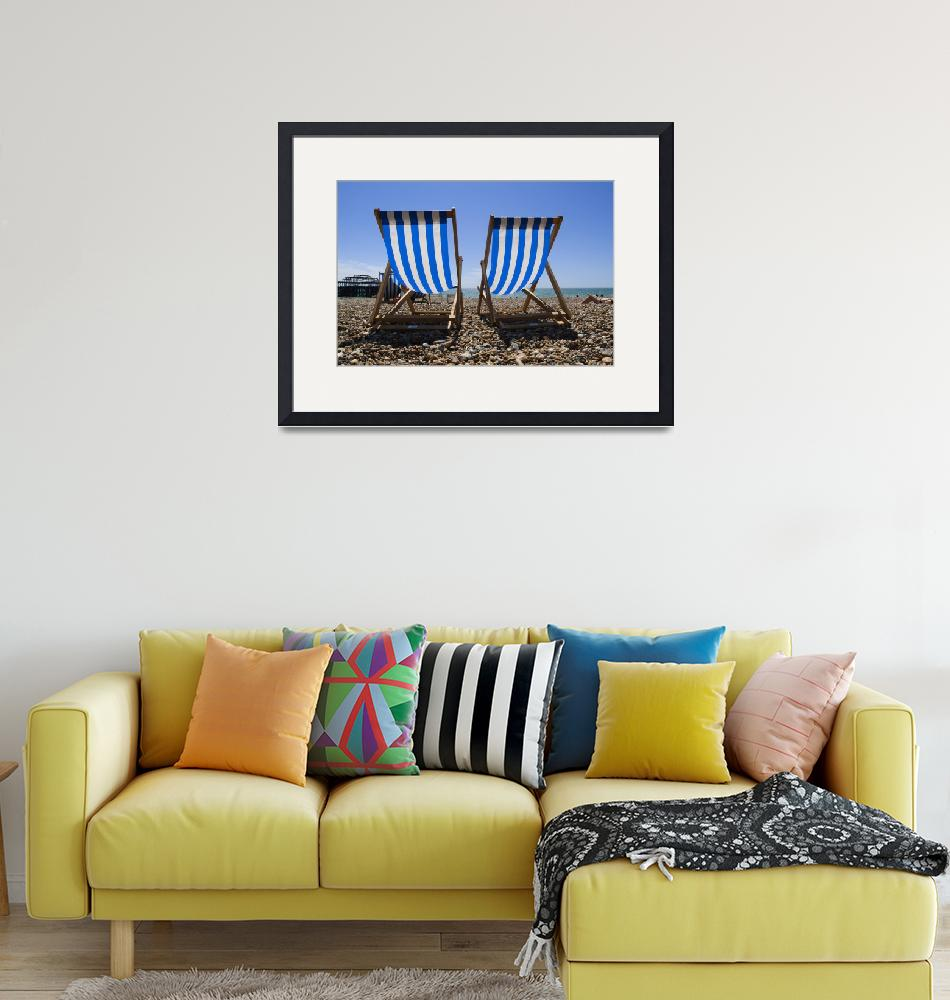 """Deckchairs on the beach, Brighton, Susex, England.""  by simonholdcroft"