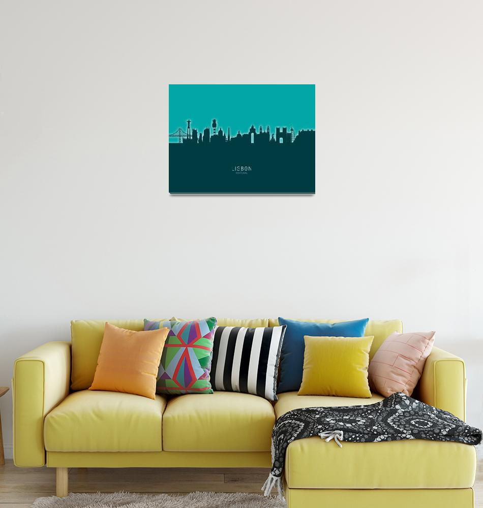 """Lisbon Portugal Skyline""  (2020) by ModernArtPrints"