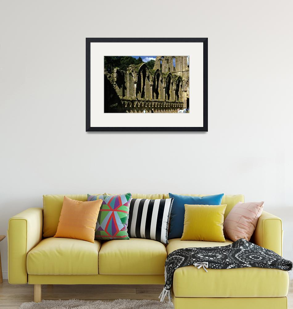 """Fountains Abbey in Summer 6""  (1990) by PriscillaTurner"