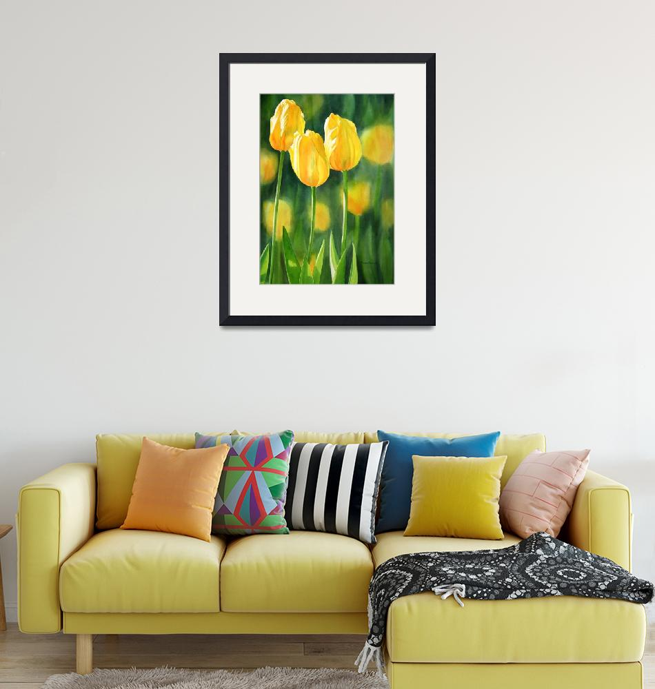 """""""yellow tulips"""" (2011) by Pacific-NW-Watercolors"""