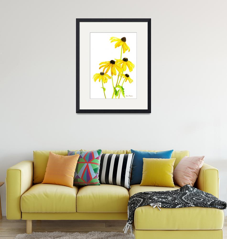 """Yellow Black Eyed Susans with signature""  (2015) by Pacific-NW-Watercolors"