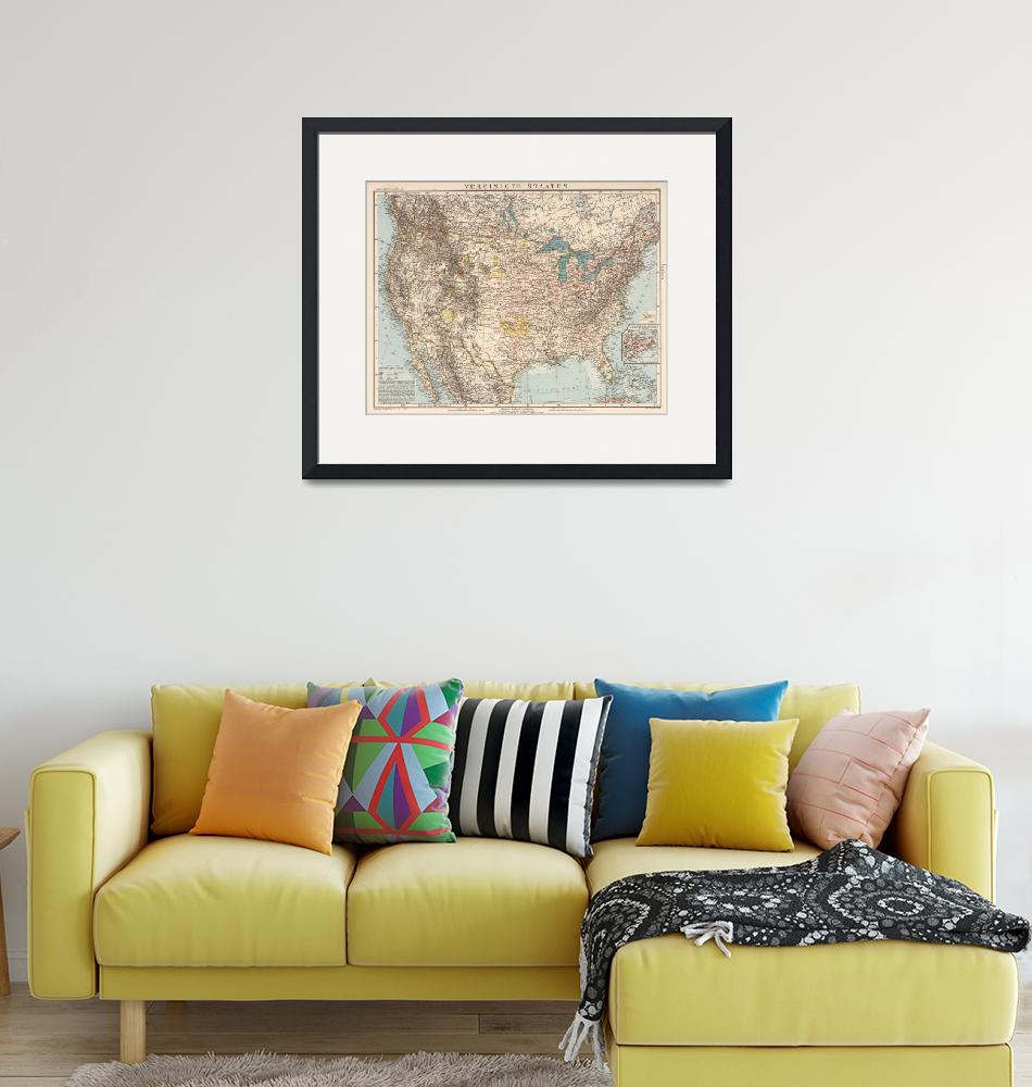 """Vintage United States Map (1898)""  by Alleycatshirts"