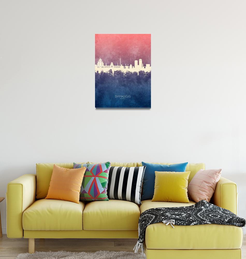 """Damascus Syria Skyline""  (2019) by ModernArtPrints"