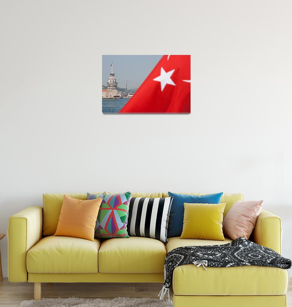"""Turkish flag and Maiden tower in Istanbul""  (2010) by sebnemkoken"