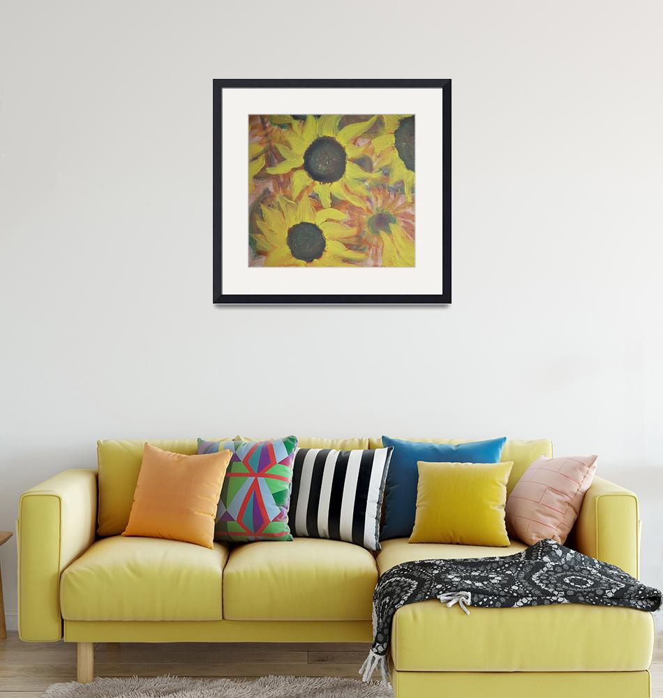 """""""Sunflowers This Way""""  (2019) by MarciaARS"""