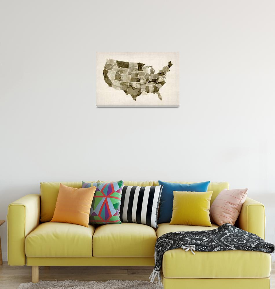 """""""United States Watercolor Map"""" (2012) by ModernArtPrints"""