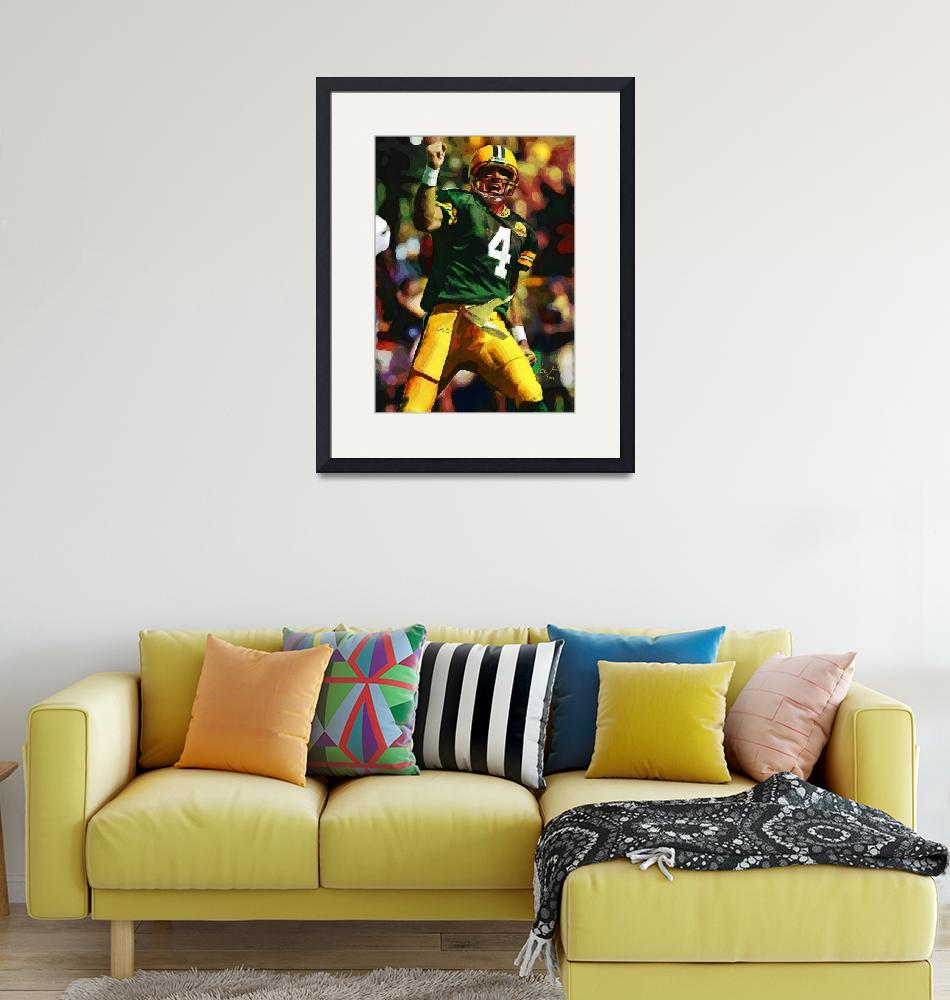 """Brett Favre, Green Bay Packers NFL Art""  (2011) by artofvela"