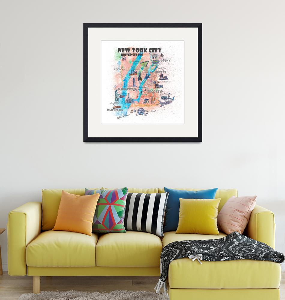 """New York City Illustrated Map with Main Roads, Lan""  (2019) by arthop77"