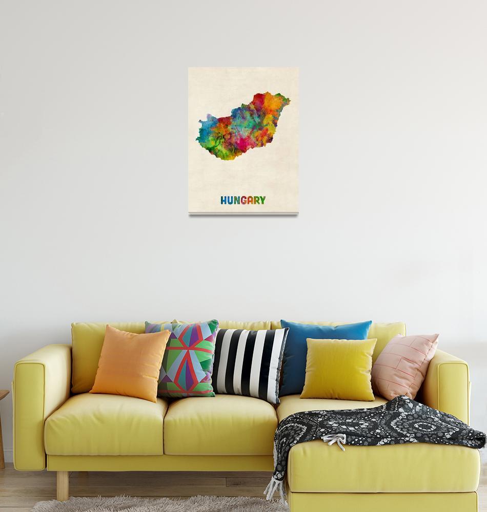 """Hungary Watercolor Map""  (2014) by ModernArtPrints"