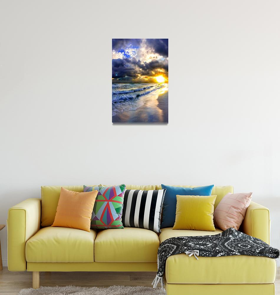 """""""amazing-sunset-on-canvas-blue-ocean-skyscape-""""  (2015) by eszra"""