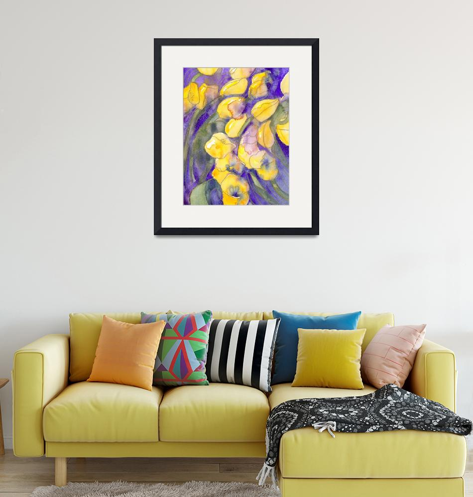"""Yellow tulips on purple watercolor abstract""  (1997) by withflyingcolors"
