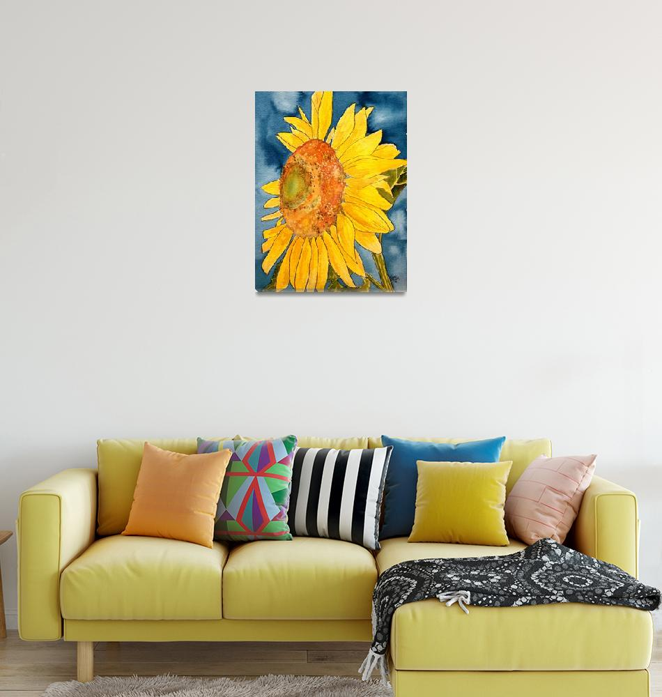"""sunflower macro flower watercolor painting print""  (2008) by derekmccrea"