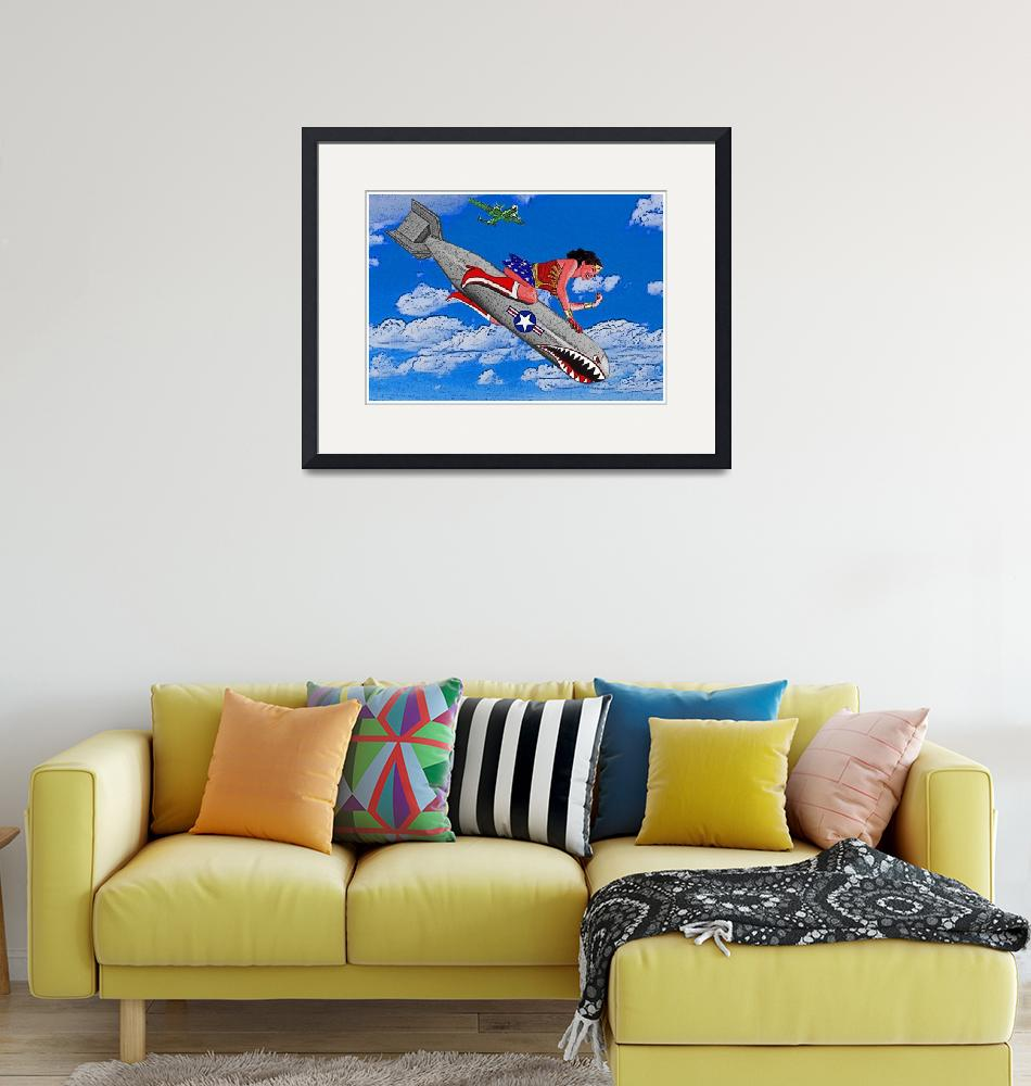 """""""Wonder Woman Riding Bomb in Clouds""""  (2015) by Automotography"""