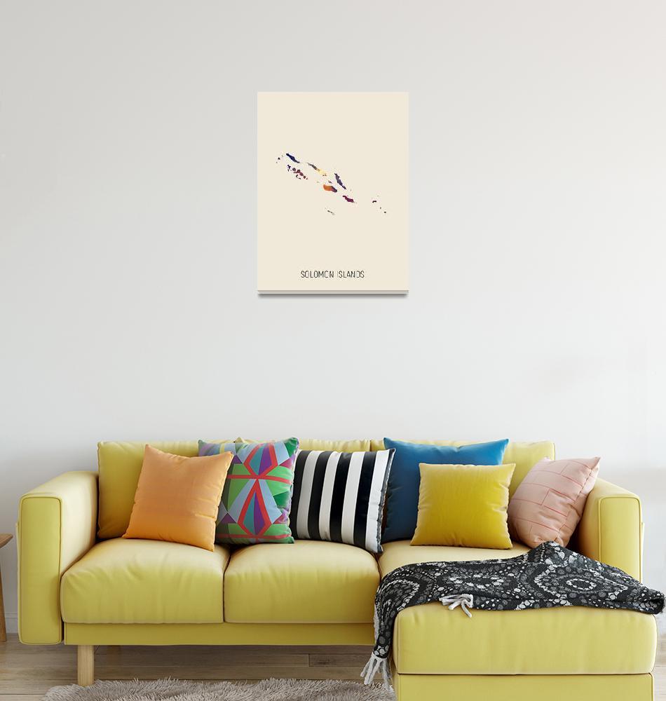 """Solomon Islands Watercolor Map""  (2019) by ModernArtPrints"